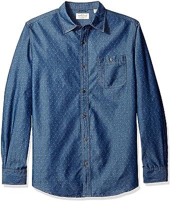 5fc2b4214c Weatherproof Vintage Men's Denim Dot Dobby Shirt, Indigo Small at Amazon  Men's Clothing store: