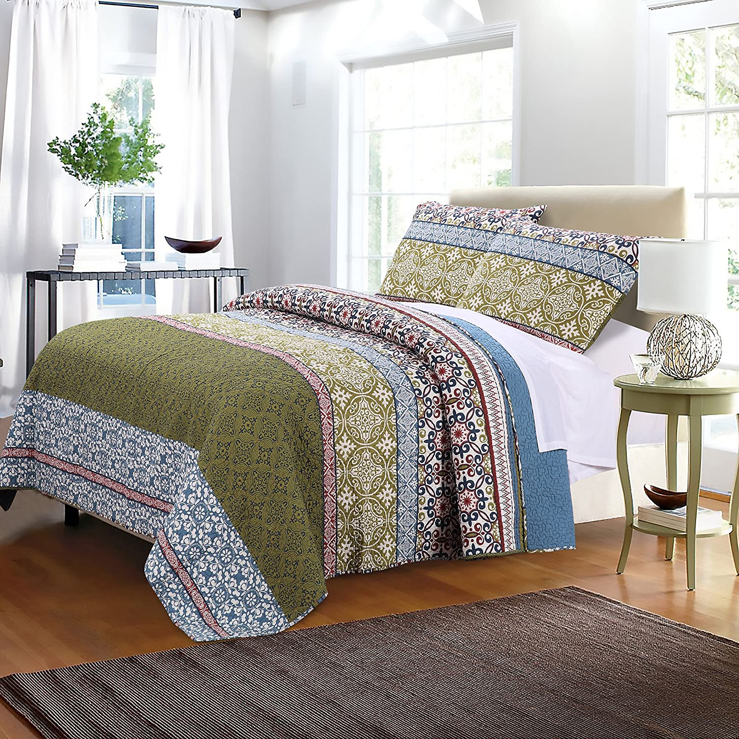Greenland Home 3 Piece Shangri-La Quilt Set, Full/Queen