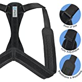 Ortho+ Adjustable Posture Corrector – Shoulder Strap for Men and Women – Neoprene Posture Brace – Free Resistance Band, Removable Soft Pads and an E-Book Included