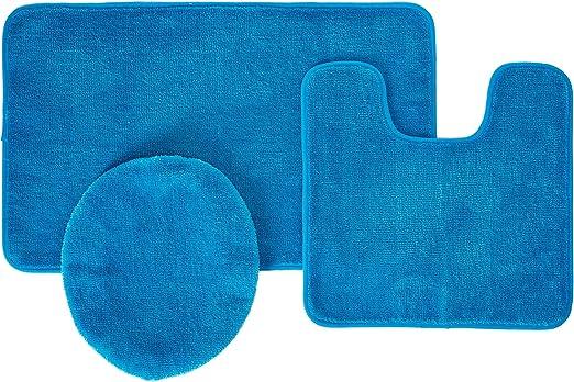 Lid cover. 3 Piece Ultra Spa Bath Mat Bath mat,Contour rug Royal Blue
