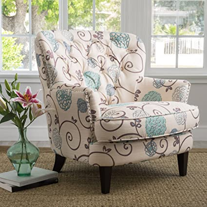 Amazoncom Alfred Tufted Fabric Club Chair Contemporary Lounge