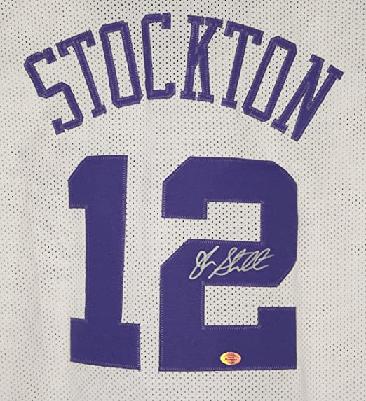 ... Adidas NBA Throwback Swingman Mountains Jersey - Purple John Stockton  Utah Jazz Signed Autographed White 12 Custom Jersey at Amazons Sports  Collectibles ... 0f1ea4a2b