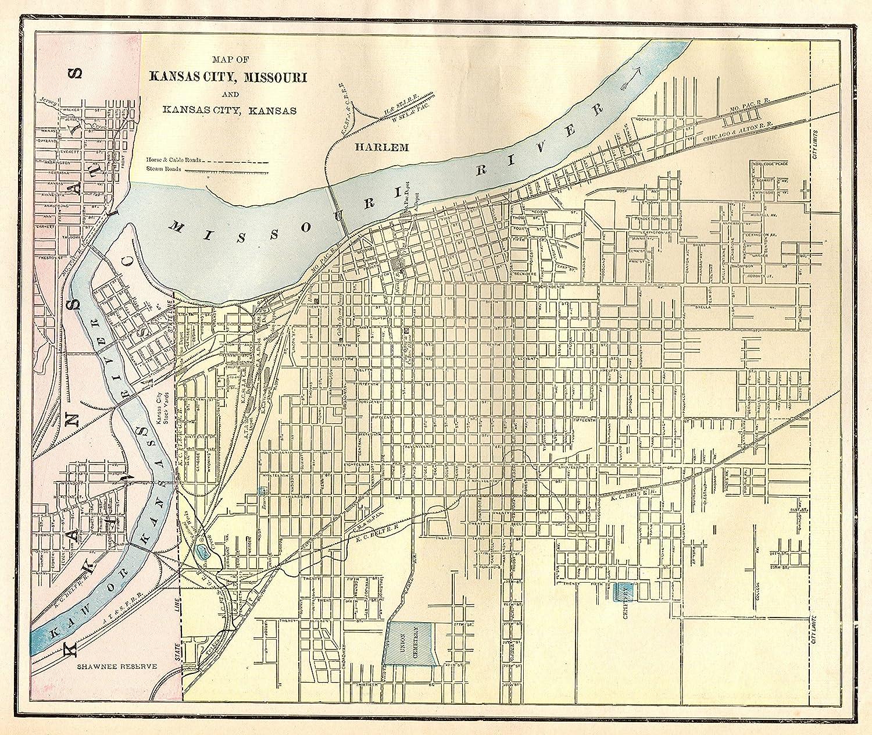 Alton Kansas Map.Amazon Com Original Map Of Kansas City 1891 Antique Kansas City Map
