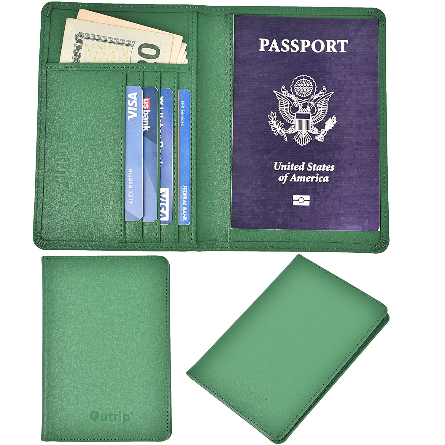 Outrip RFID Blocking Leather Passport Holder & Travel Wallet Id Card Case Cover(Black)