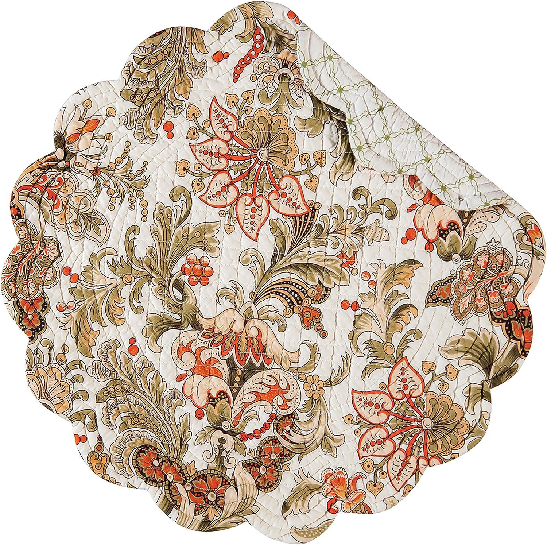 Amazon Com C F Home Jocelyn Cream Jacobean Floral Cotton Round Cotton Quilted Cotton Reversible Machine Washable Placemat Set Of 4 Round Placemat Green Home Kitchen