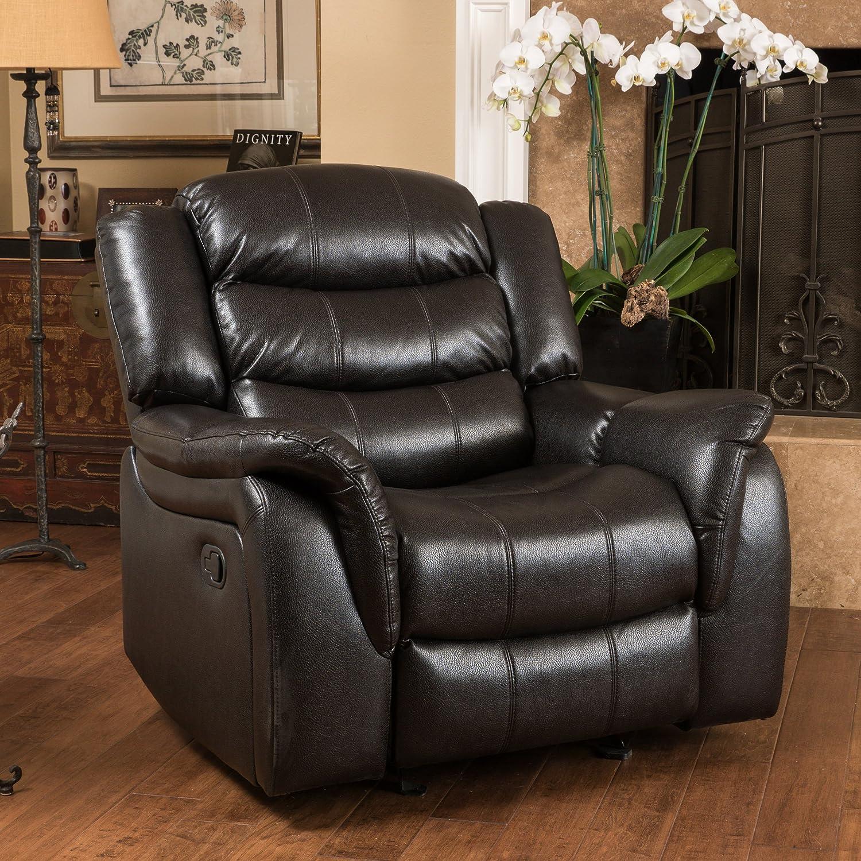 Amazon.com Merit Black Leather Recliner/Glider Chair Kitchen u0026 Dining & Amazon.com: Merit Black Leather Recliner/Glider Chair: Kitchen ... islam-shia.org
