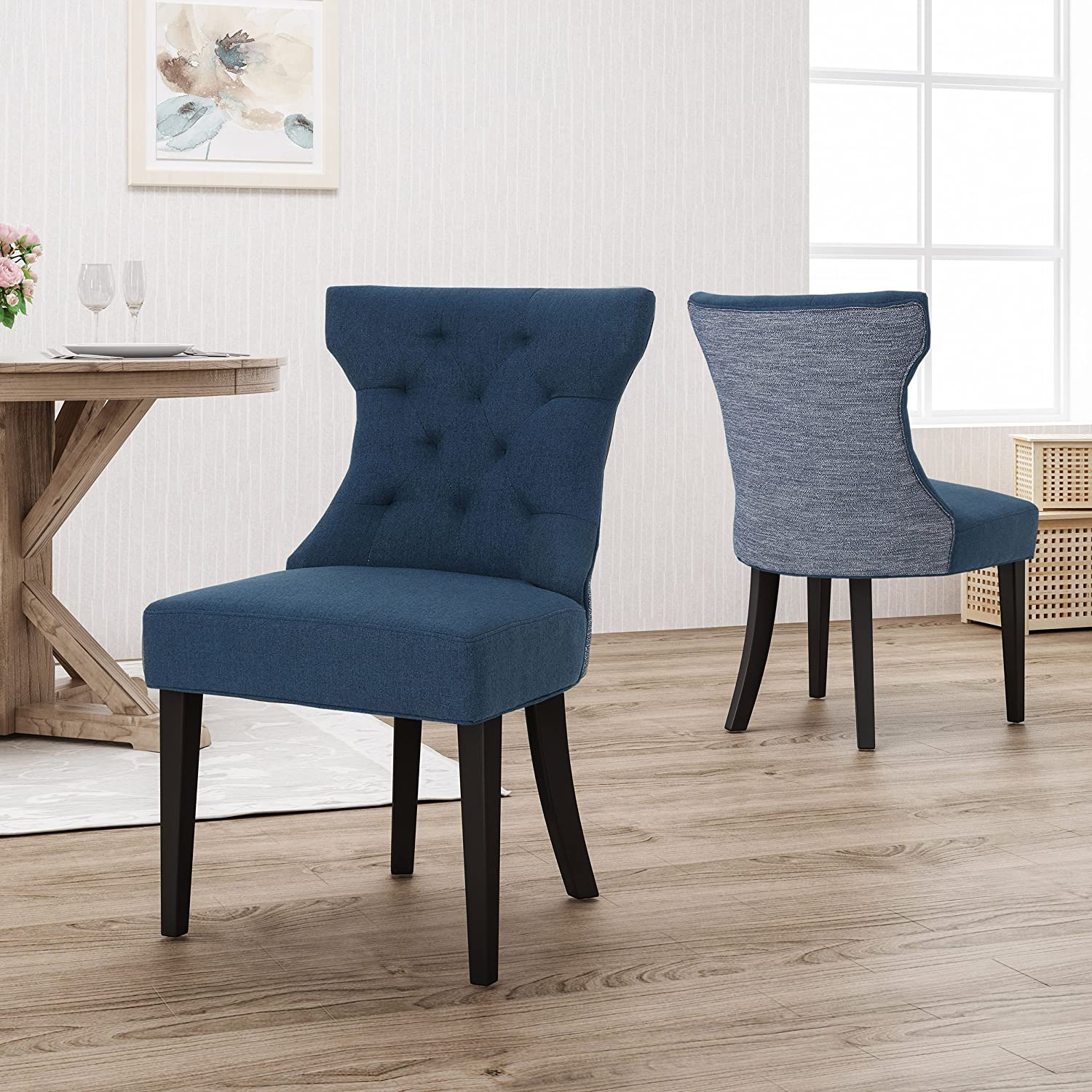 Admirable Christopher Knight Home Louis Traditional Two Toned Fabric Dining Chair Navy Blue Textured Inzonedesignstudio Interior Chair Design Inzonedesignstudiocom