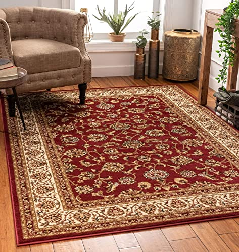 Noble Sarouk Red Persian Floral Oriental Formal Traditional Area Rug 7×10 6 7 x 9 6 Easy to Clean Stain Fade Resistant Shed Free Modern Contemporary Transitional Soft Living Dining Room Rug