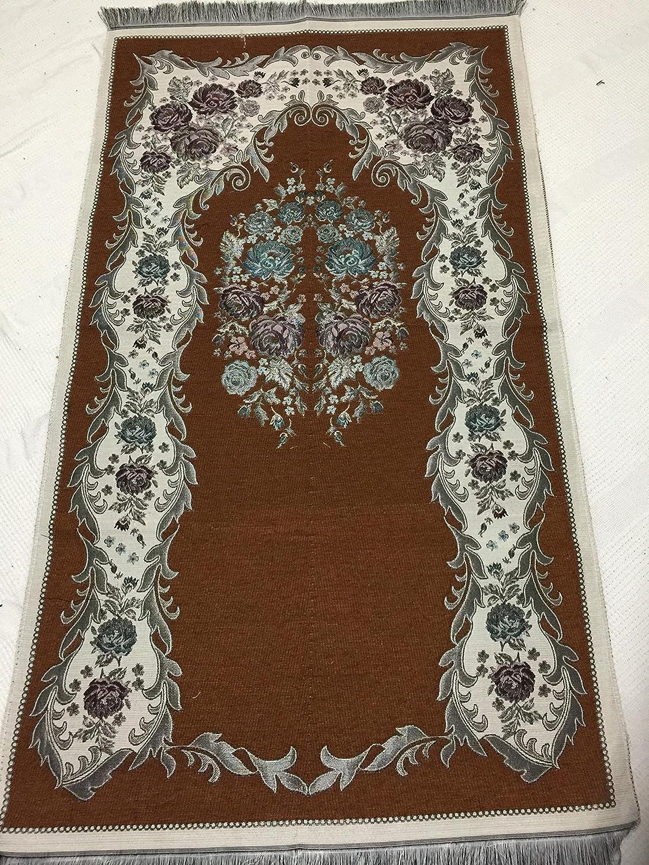 Luxury Colored Velvet Printed on Chenille Islamic Prayer Rug Janamaz Sajjadah Muslim Turkish Prayer Rug (Green) COMIN18JU082854