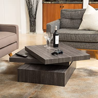 Great Deal Furniture 295922 Haring Square Rotating Wood Coffee Table, Black Oak