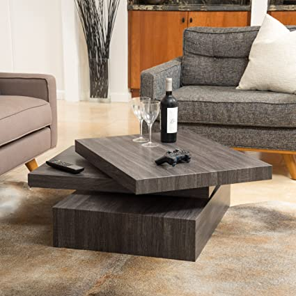 Marvelous Christopher Knight Home Haring Square Rotating Wood Coffee Table Black Oak Cjindustries Chair Design For Home Cjindustriesco