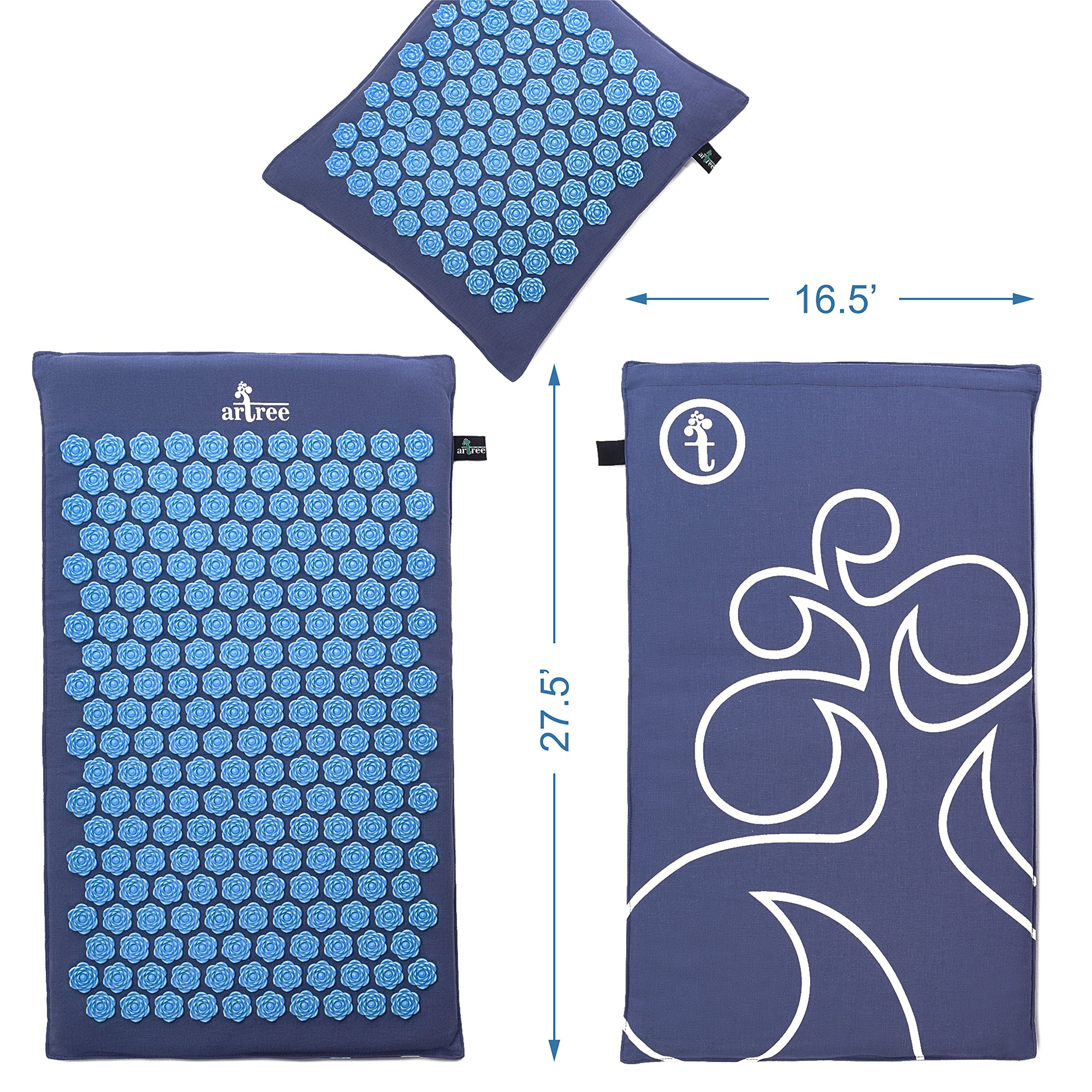 New Version Professional Acupressure Mat and Pillow Set Natural Linen – Best Acupuncture Mat Gift – Back And Neck Pain Relief Reflexology Mat – For Women And Men - Stress and Muscle Relief by Artree (Image #8)