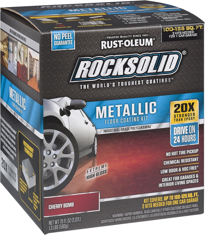 Rust-Oleum 286896 Rocksolid Metallic Garage Floor Coating Kit, 70 fl oz, Cherry Bomb