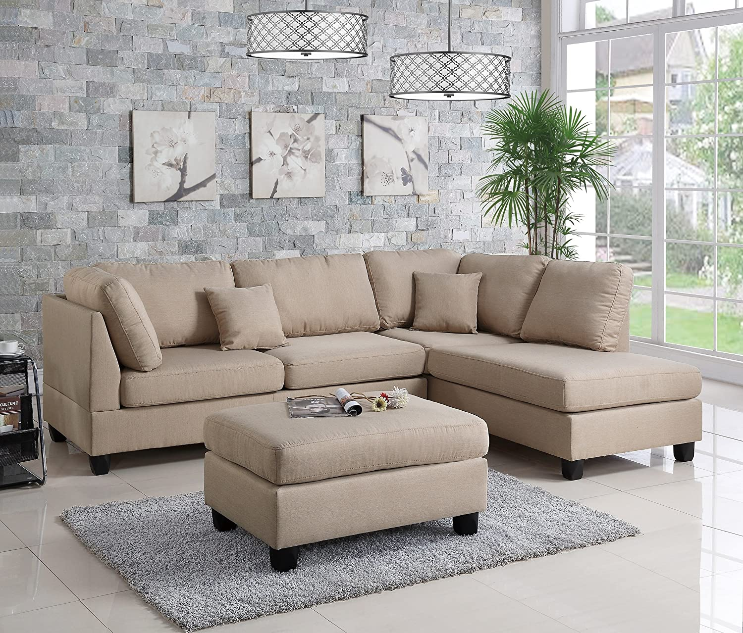 Amazon.com: Pistoia 3 Pieces Sectional Sofa With Ottoman Upholstered In Sand  Linen Like Fabric: Kitchen U0026 Dining