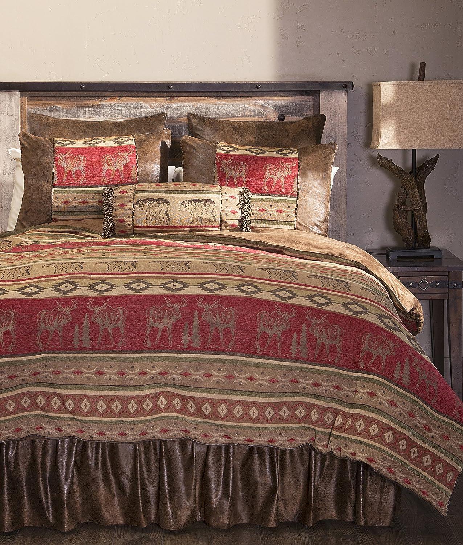 Carstens Queen Adirondack 5 Piece Comforter Bedding Set, Brown