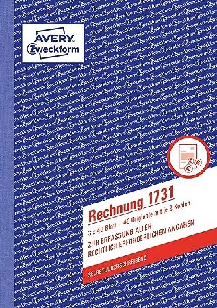3x Zweckform Rechnung 1731 A5 selbstdurchschreibend 3x 40 Blatt Formularbuch