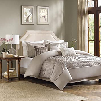 madison park trinity 6 piece duvet cover set king taupe