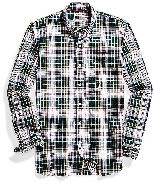 c56d256eb169 Goodthreads Men's Standard-Fit Long-Sleeve Lightweight Madras Plaid Shirt,  Green/White