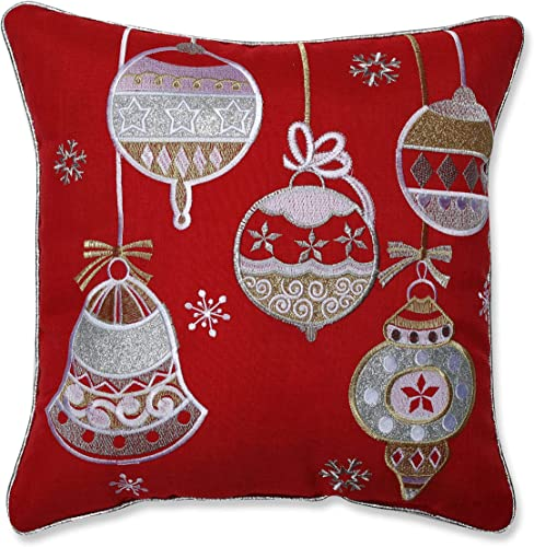 Pillow Perfect Sparkling Christmas Ornaments Appliqued Embroidered Welt Cord Decorative Pillow, 16 , Red, White, Gold, Silver