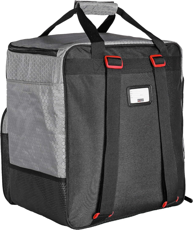 Silver Red BRUBAKER SuperTec Ski Boot Bag Helmet Bag Backpack with Shoe Compartment