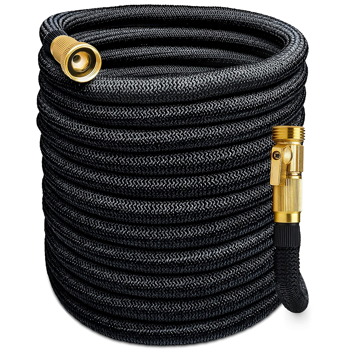 Morvat Expandable Garden Hose | Retractable Hose, Coil Hose, Collapsible Hose | Premium Super Strength Fabric 5500D | All Brass Connection with Built-In Quick Shut-Off Valve for Extra Convenience, 150