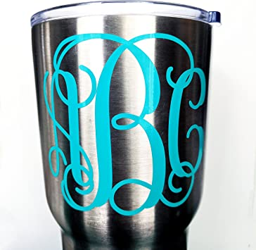 """Personalized Vinyl Decal For Tumblers Cups Vine Monogram,4/"""" Sticker"""