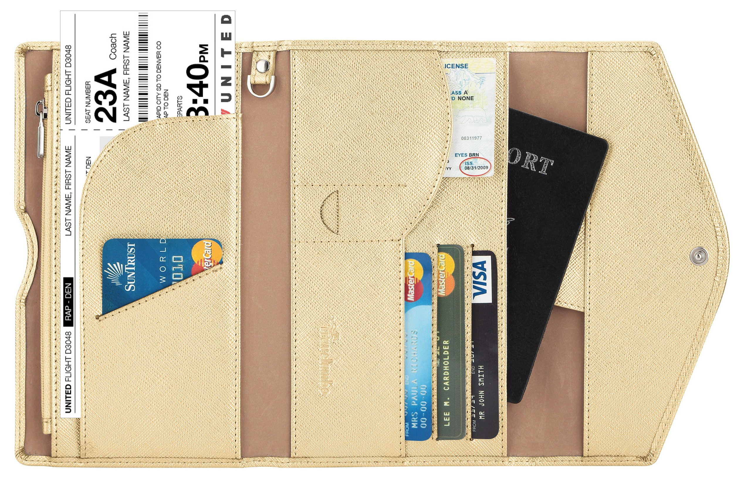 Travelambo Rfid Blocking Passport Holder Wallet & Travel Wallet Envelope 7 Colors (shiny gold)