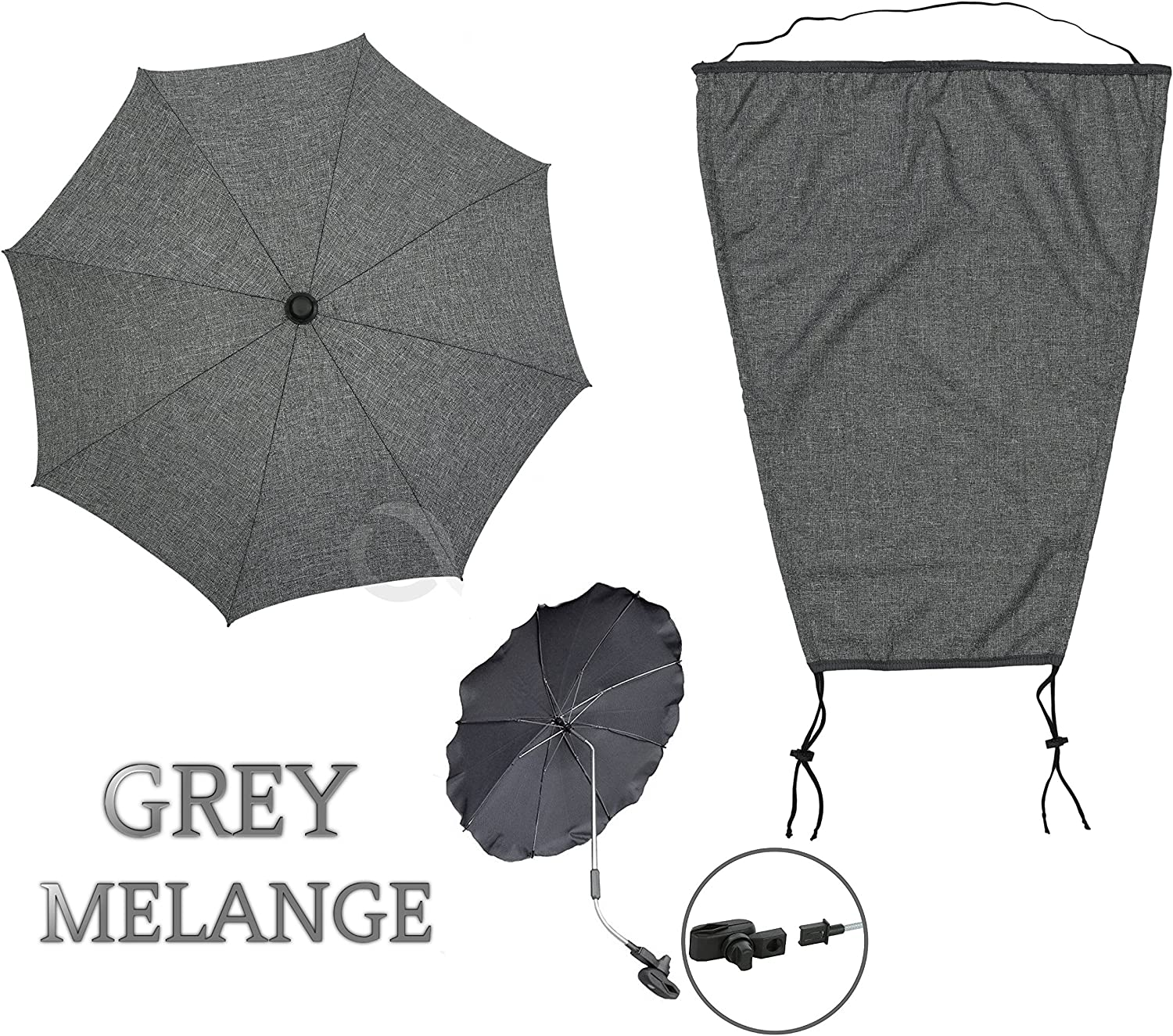 baby bag MELANGE GREY SET by OLOBABY Sunshade for buggy sun canopy SET 2
