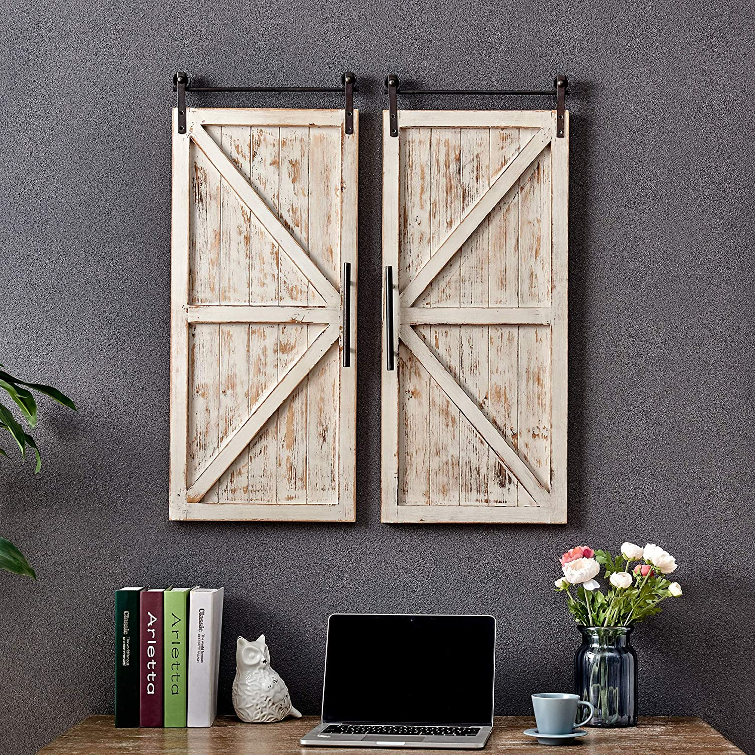 """FirsTime & Co. Carriage House Barn Door Wall Plaque Set, 10""""L x 10""""W, Aged  White, Metallic Gray"""