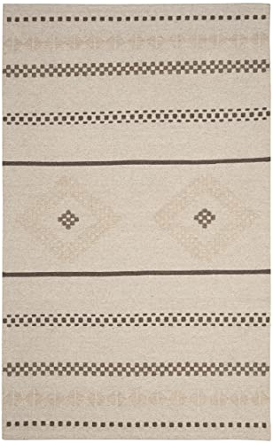 Safavieh Dhurries Collection DHU351A Hand Woven Natural Premium Wool Area Rug 8 x 10