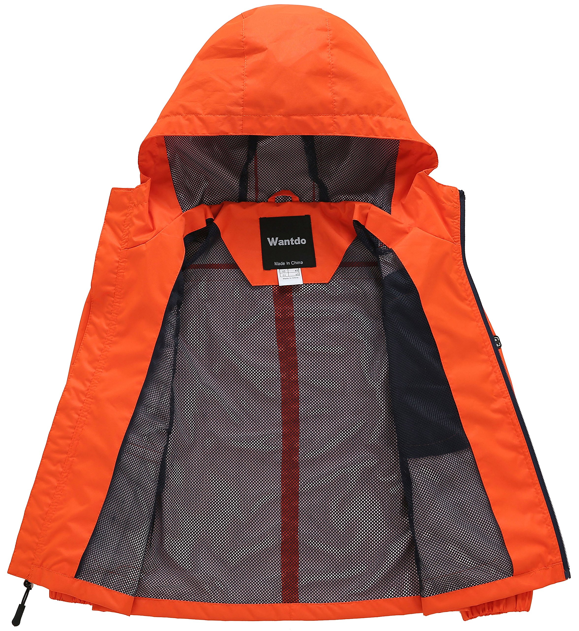 Wantdo Boy's Ultra Light Packable Travel Jacket Outdoor Windcheater Zipped Hoodies for Traveling(Lily Orange Yellow, 14/16) by Wantdo (Image #3)