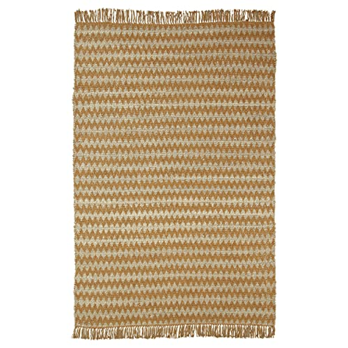 Superior Chevron Hand Crafted Jute and Cotton Area Rug 5 x 8 – Kitchen, Dining, Living Room – Gold