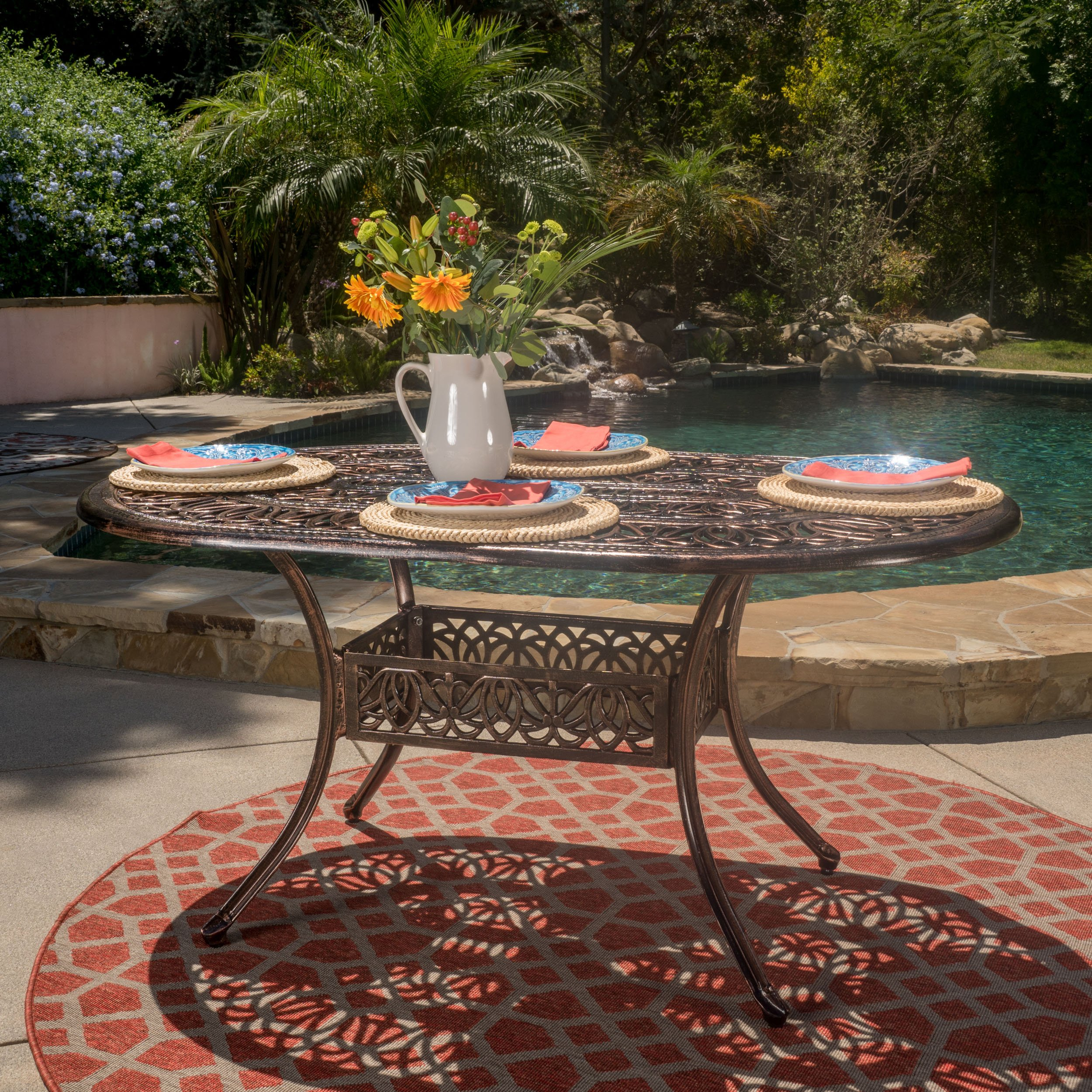 GDF Studio Jameson | Cast Aluminum Outdoor Oval Dining Table | Perfect For Patio | in Shiny Copper