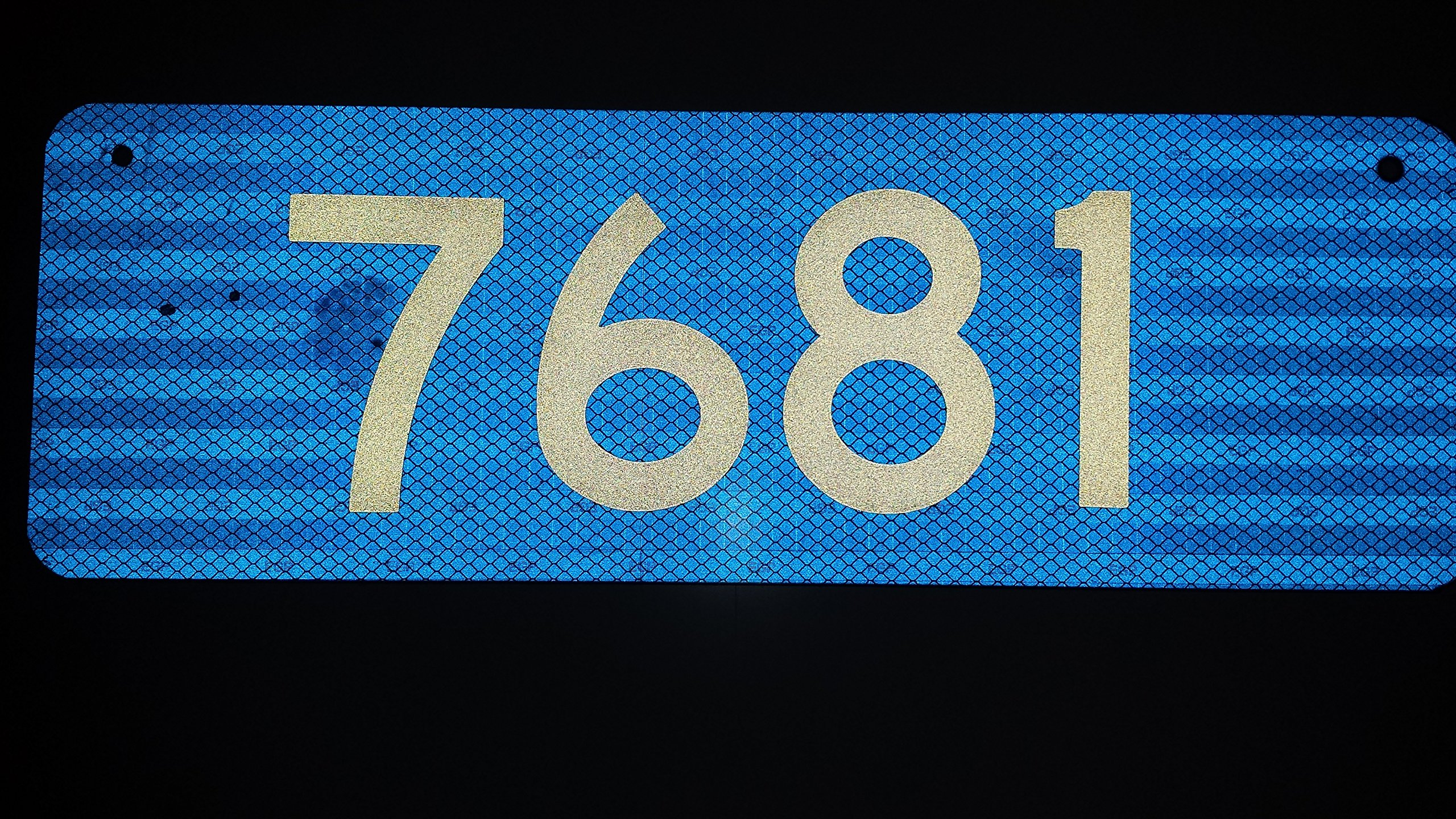 911 Blue Premium 3M Prismatic Reflective Address w/ 4'' Numbers Mailbox Marker Home Business Horizontal Mg2 Signs