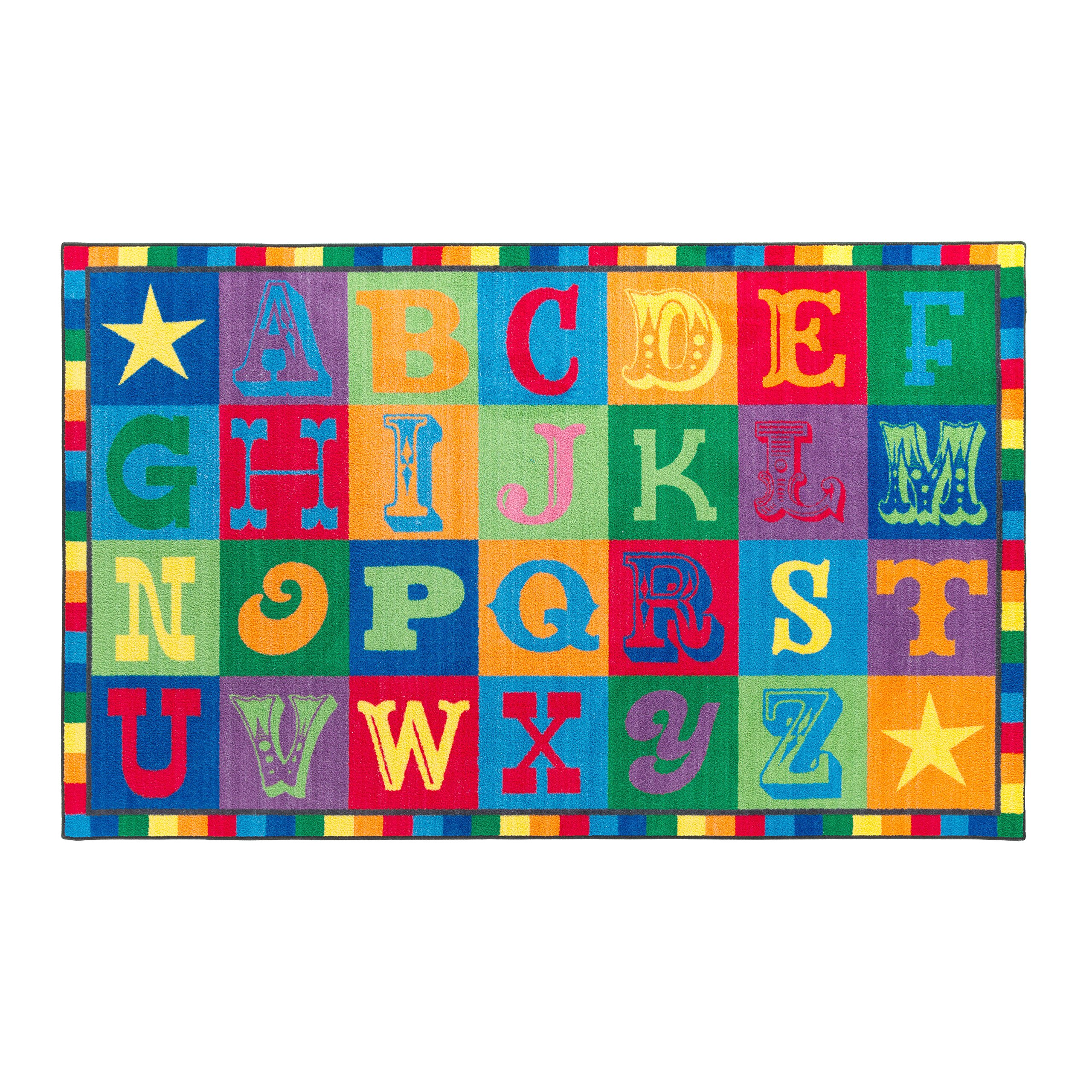 Flagship Carpets CE191-28W Early Blocks Rug, All 26 Letters Provides a Unique Learning Spot for Everyone, Children's Classroom Educational Carpet, 5' x 8', 60'' Length, 96'' Width, Multi-Color