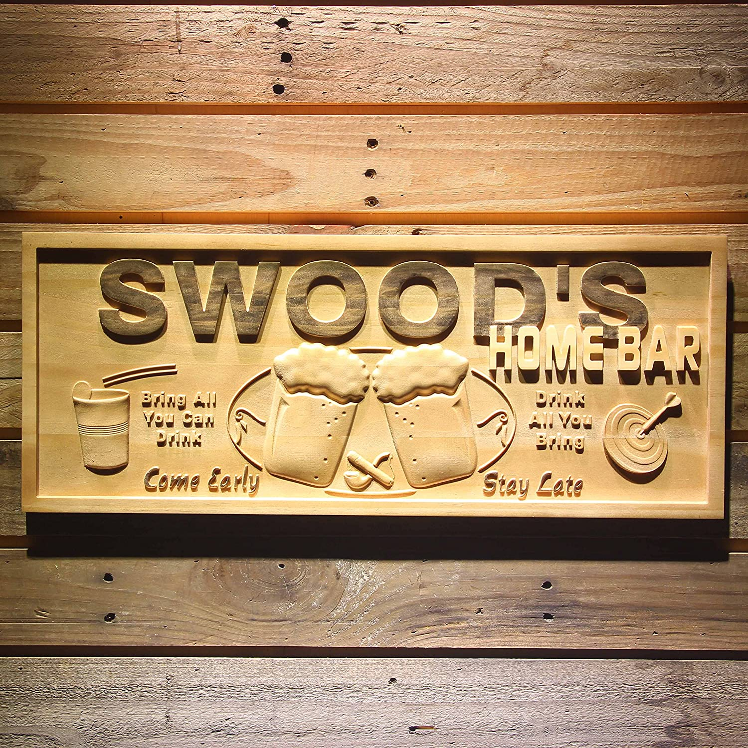 Amazon.com: wpa0053 Name Personalized Home Bar Wooden 3D Engraved ...