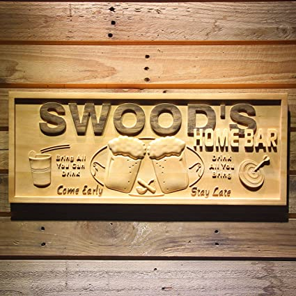 Wpa40 Name Personalized Home Bar Wooden 40D Engraved Sign Custom Simple Custom Wood Signs For Home Decor