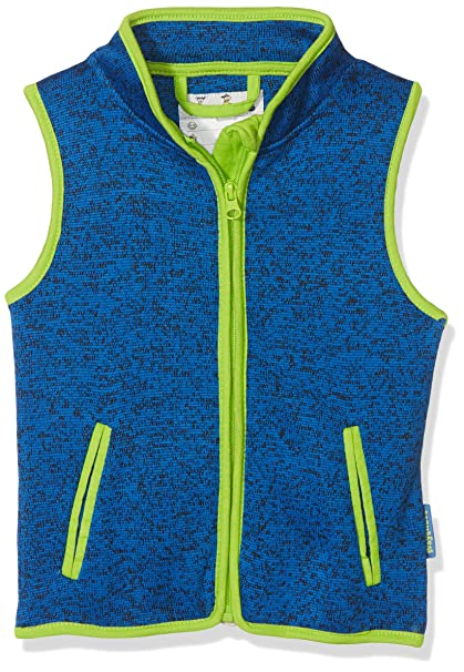 Playshoes Baby Strickfleece-Weste, ärmellose Unisex-Jacke für Mädchen und Jungen mit Reißverschluss und Kontrastnähten
