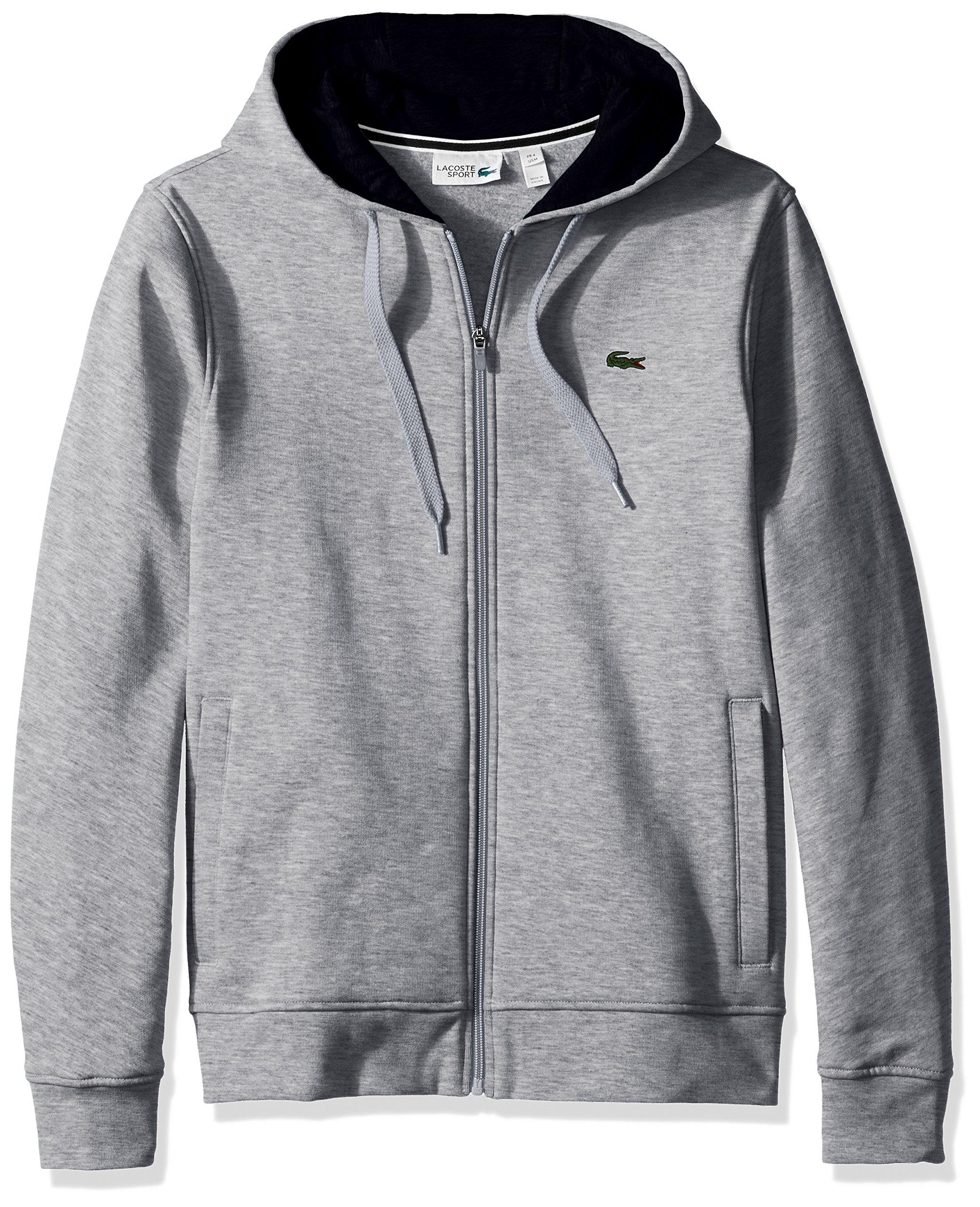 Lacoste Men's Full Zip Hoodie Fleece Sweatshirt, Silver Chine/Navy Blue, Small