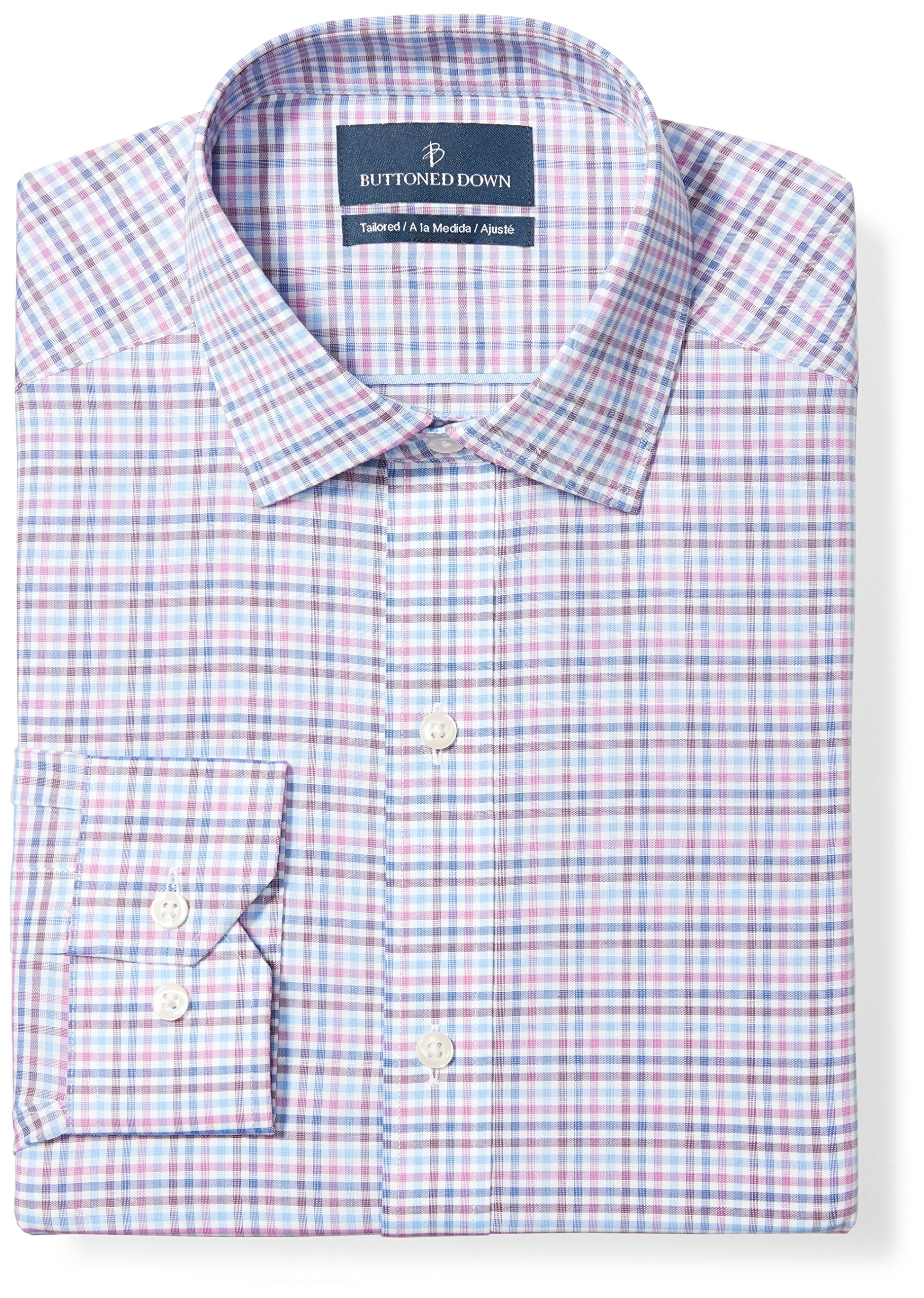 Buttoned Down Men's Tailored Fit Spread-Collar Pattern Non-Iron Dress Shirt, Berry/Blue/Navy Check, 18'' Neck 35'' Sleeve (Big and Tall)