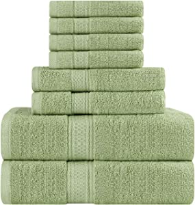 Utopia Towels Premium 8 Piece Towel Set (Sage Green) - 2 Bath Towels, 2 Hand Towels and 4 Washcloths Cotton Hotel Quality Super Soft and Highly Absorbent