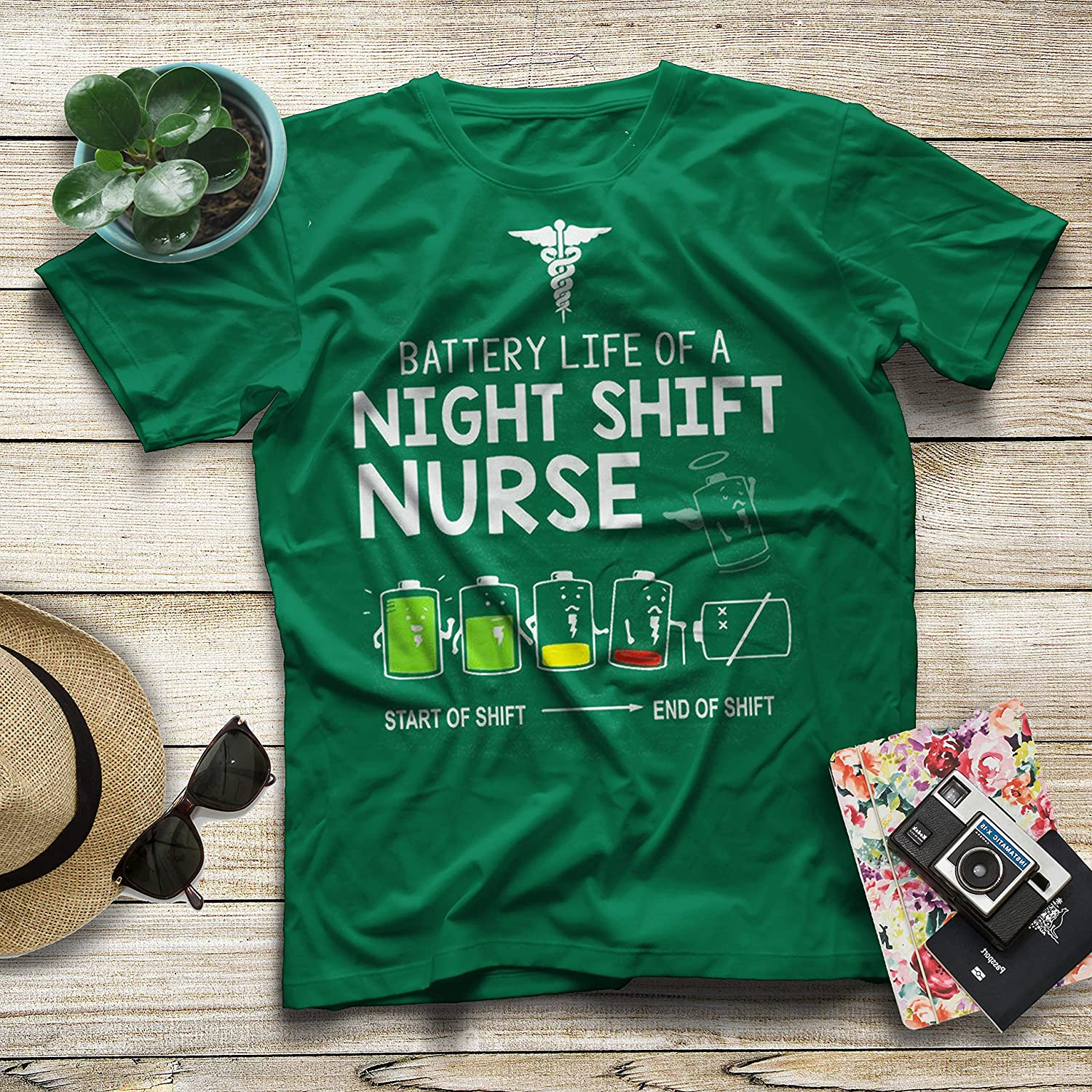 Nurse T-Shirt Battery Life of A Night Shift Nurse Decrease.Love Them