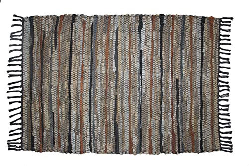 COTTON CRAFT – 100 Leather Chindi Rug 4×6 Feet – Grey Ivory Multi – Hand Woven Hand Stitched – Strips of Genuine Leather are Woven by Hand to get This Attractive Artisan Look – Fully Reversible