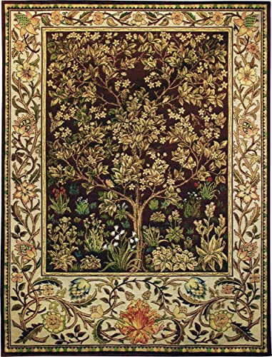 Tree of Life Umber by William Morris Arts and Crafts Style Woven Tapestry Wall Art Hanging Ornate Spiritual Tree Pattern 100 Cotton USA Size 40×30