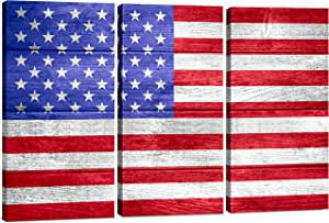 American Flag Canvas Wall Art Decor - 3 Piece Set - Large Decorative Multi Panel Split Prints - Rustic Wood Look for Dining & Living Room, Kitchen, Bedroom & Office (2840 - American Flag, 24x36)