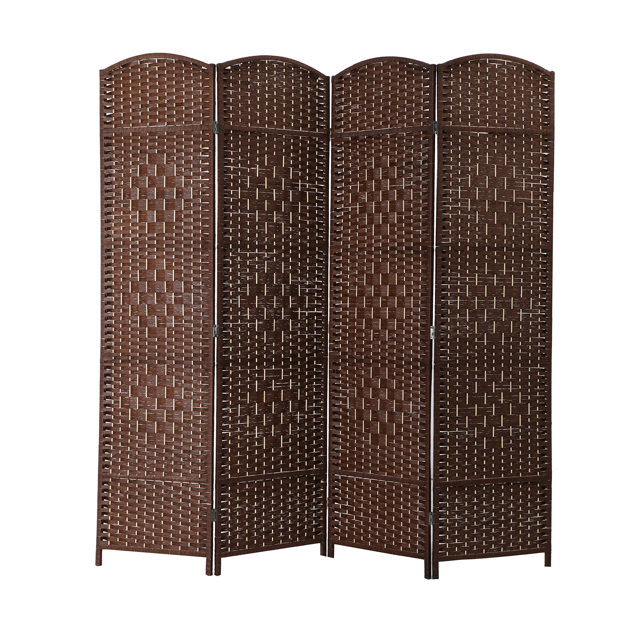 ALPHA HOME 4 Panel Room Divider - Handcrafted Wood Framed Folding Privacy Screen Diamond Pattern, Light Brown