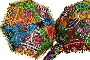 Guru-Shop Paraguas de Algodón Colorido de la India, Tamaño: Pequeñas (61