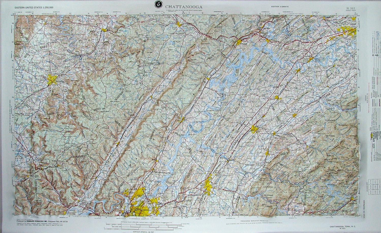 American Educational Tennessee Chattanooga mapa con marco de plástico negro, 31 – 1/2