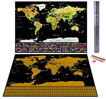 Scratch off world map with us states canadian provinces and country scratch off world map with us states canadian provinces and country flags the perfect publicscrutiny Image collections