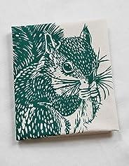 Tea Towel - Organic Cotton - Squirrel Design in Dark Green - Flour Sack